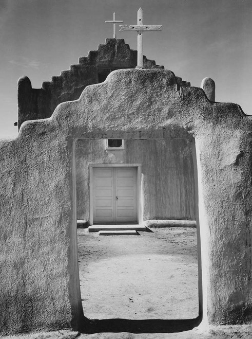Art prints of Entrance, Church, Taos Pueblo National Historic Landmark, New Mexico, 1942