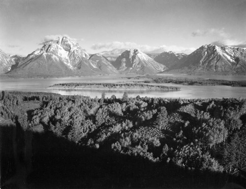 Art prints of Mount Moran and Jackson Lake from Signal Hill, Grand Teton National Park, Wyoming by Ansel Adams