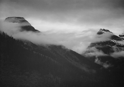 Art prints of Mountain partially covered with clouds, Glacier National Park, Montana