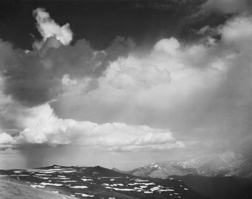 Art prints of Mountain tops, low horizon, dramatic clouded sky, In Rocky Mountain National Park, Colorado