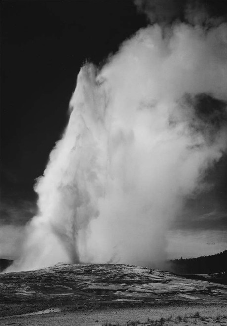 Art prints of Old Faithful Geyser at dusk or dawn, Yellowstone National Park, Wyoming