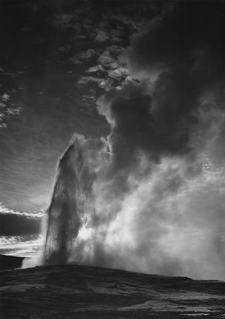 Art prints of Old Faithful Geyser at dusk or dawn, Yellowstone National Park, Wyoming III
