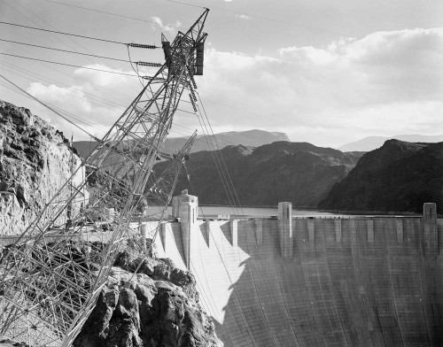 Art prints of Photograph Looking Over the Top of the Hoover Dam (aka Boulder Dam) by Ansel Adams