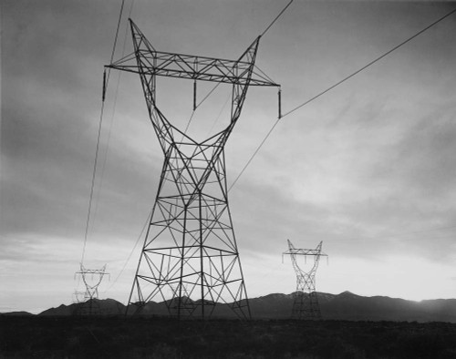 Art prints of Photograph of Transmission Lines in Mojave Desert Leading from Hoover Dam (aka Boulder Dam) by Ansel Adams