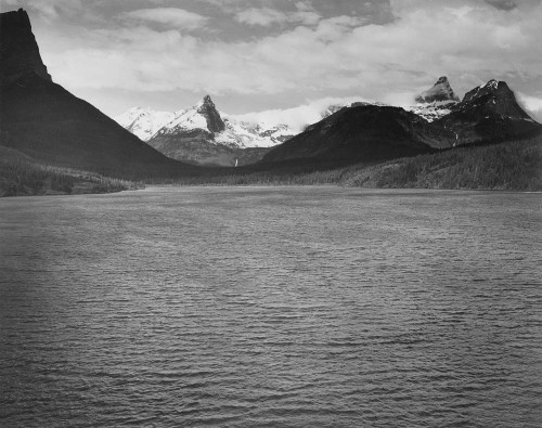 Art prints of Snow-capped mountains, St. Mary's Lake, Glacier National Park, Montana by Ansel Adams