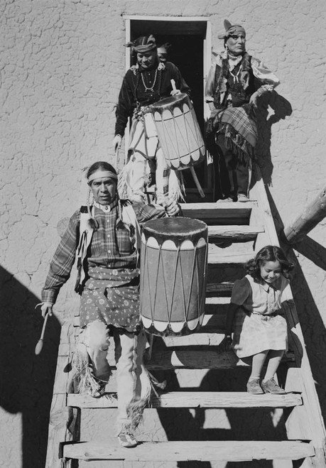 Art prints of Two Tewa with another Indian and child, Dance, San Ildefonso Pueblo, New Mexico, 1942