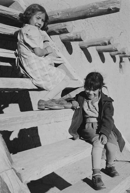 Art prints of Two Young Tewa girls at San Ildefonso Pueblo, New Mexico, 1942
