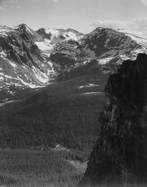 Art prints of View of snow-capped mountain timbered area below, Rocky Mountain National Park, Colorado