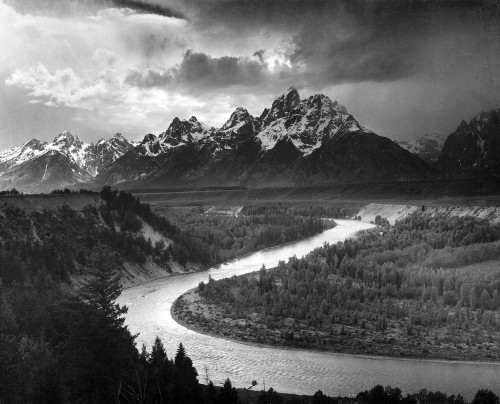 Art prints of View of the Grand Tetons from River Valley, Grand Teton National Park, Wyoming by Ansel Adams