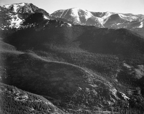 Art prints of View of wooded hills with mountains in background, In Rocky Mountain National Park, Colorado