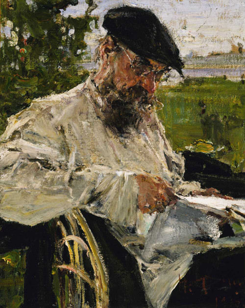 Art prints of Reading the Newspaper, the Artist's Father, 1916 by Nicolai Fechin