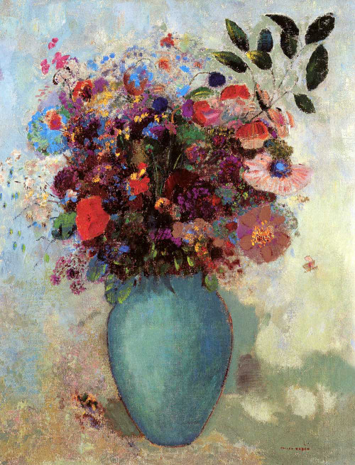 Prints and cards of Flowers in a Turquoise Vase by Odilon Redon
