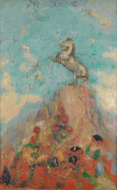 Prints and cards of Pegasus on a Rock or the Top by Odilon Redon