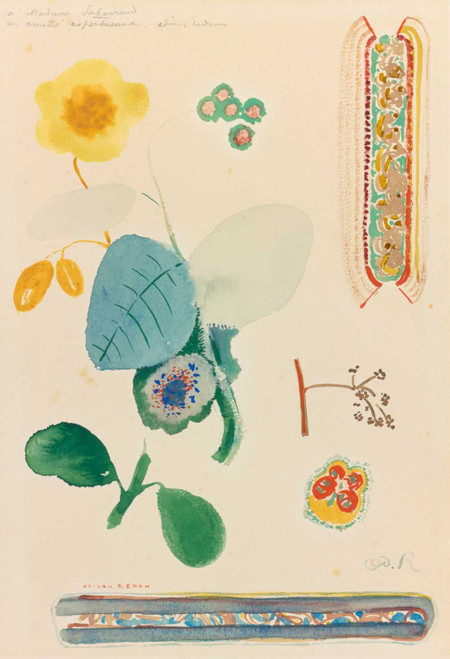Prints and cards of Study Sheet, Branches with Blossoms by Odilon Redon