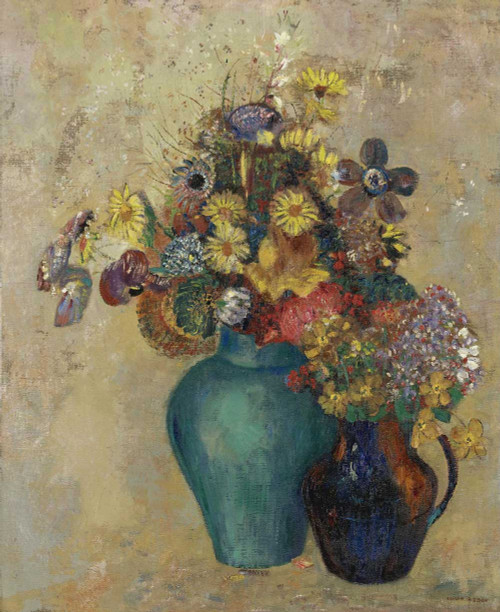 Prints and cards of Two Vases of Flowers by Odilon Redon