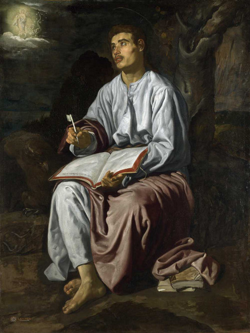 Art prints of John the Evangelist from Patmos by Diego Velazquez