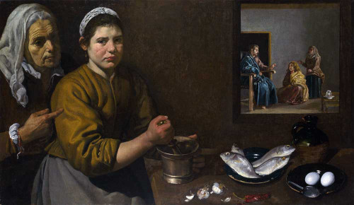 Art prints of Kitchen Scene with Christ in the House of Martha and Mary by Diego Velazquez