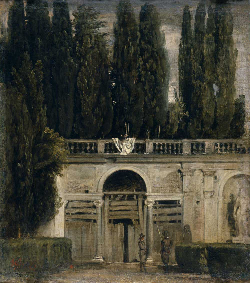 Art prints of View of the Garden of the Villa Medici by Diego Velazquez