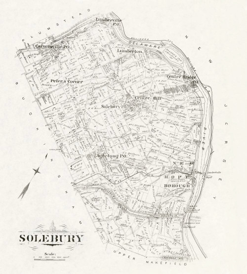 Art Prints of Bucks County Map Solebury II, Bucks County Vintage Map