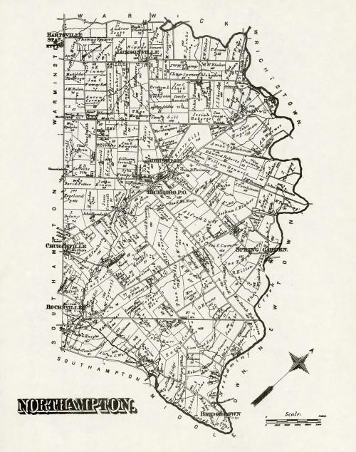 Art Prints of Bucks County Map Northampton, Bucks County Vintage Map