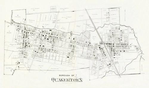 Art Prints of Bucks County Map Quakertown Borough, Bucks County Vintage Map
