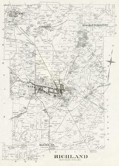 Art Prints of Bucks County Map Richland, Bucks County Vintage Map