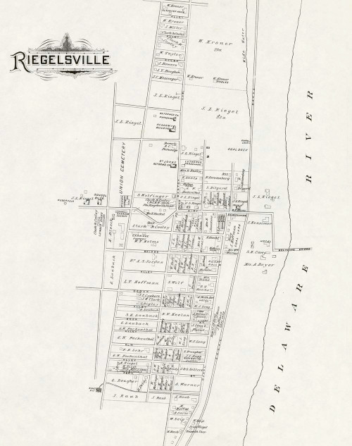 Art Prints of Bucks County Map Riegelsville, Bucks County Vintage Map