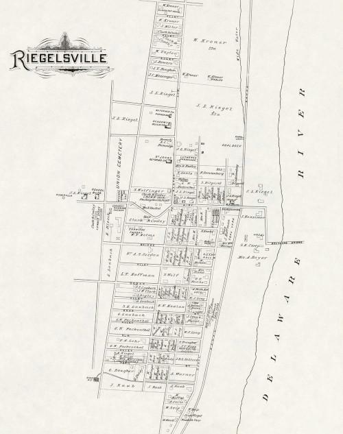 Art Prints of Bucks County Map Riegelsville, Bucks County Vintage Map