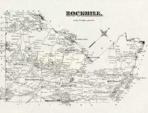 Art Prints of Bucks County Map Rockhill, Bucks County Vintage Map