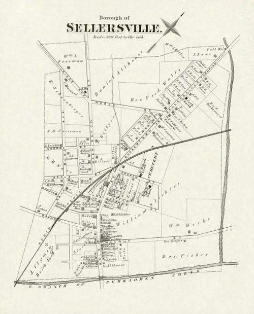 Art Prints of Bucks County Map Sellersville, Bucks County Vintage Map
