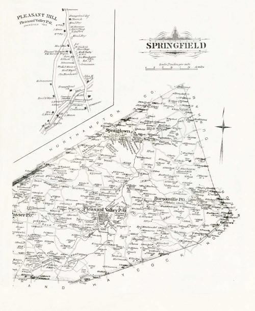 Art Prints of Bucks County Map Springfield, Bucks County Vintage Map