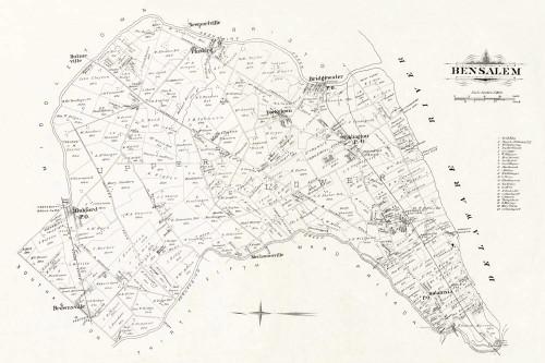 Art Prints of Bucks County Map Bensalem, Bucks County Vintage Map