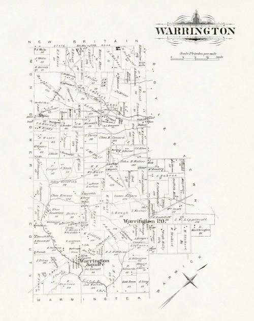 Art Prints of Bucks County Map Warrington, Bucks County Vintage Map