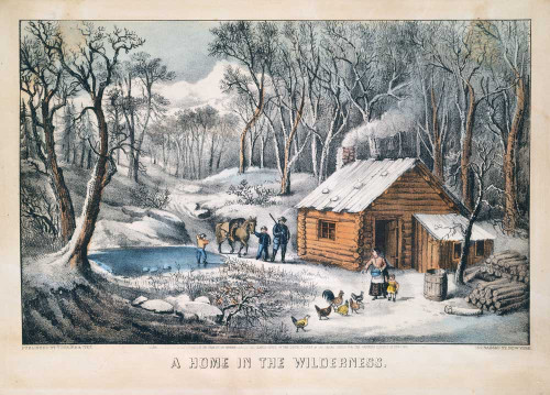 Art prints of A Home in the Wilderness by Currier and Ives
