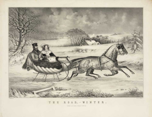 Art prints of The Road, Winter by Currier and Ives