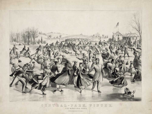Art prints of Central Park, Winter, The Skating Pond by Currier and Ives