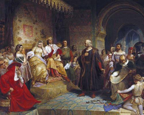 Art prints of Columbus Before the Queen by Emanuel Leutze