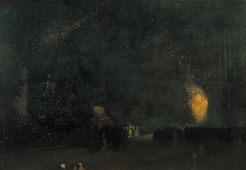Art prints of Nocturne in Black and Gold, The Firewheel by James Abbott McNeill Whistler