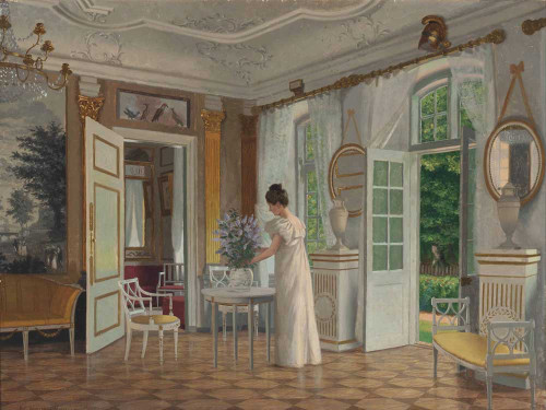 Art prints of A Lady in a Sunlit Interior by Adolf Heinrich Hansen