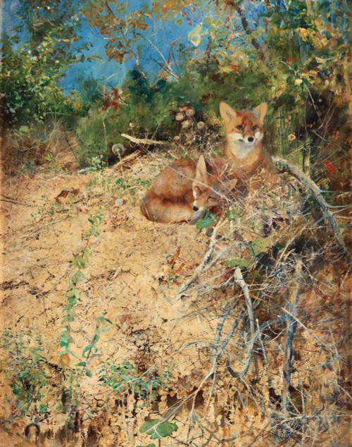 Art prints of Fox, 1886 by Bruno Liljefors