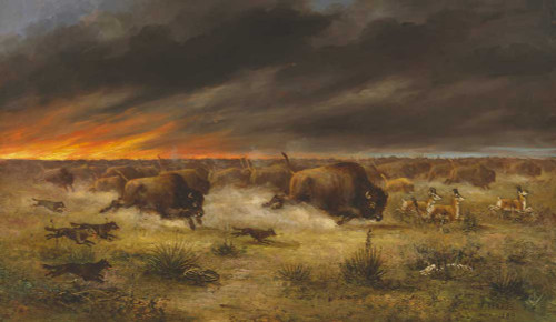 Art prints of Herd of Buffalo Fleeing from Prairie Fire by Meyer Straus