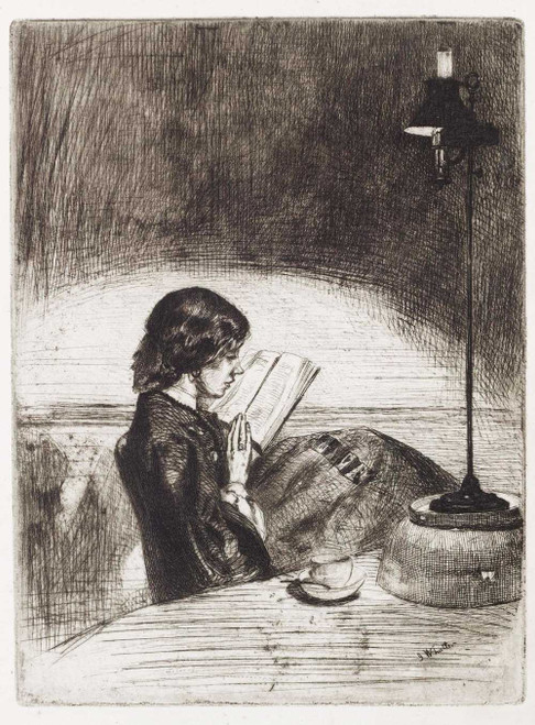 Art prints of Reading by Lamplight by James Abbott McNeill Whistler