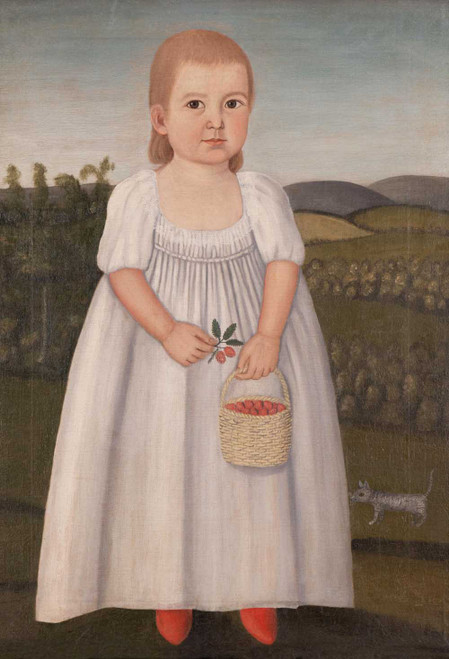 Art prints of Child in a White Dress Holding a Basket of Berries by John Brewster Jr.