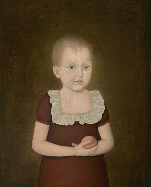 Art prints of Child with a Peach by John Brewster Jr.