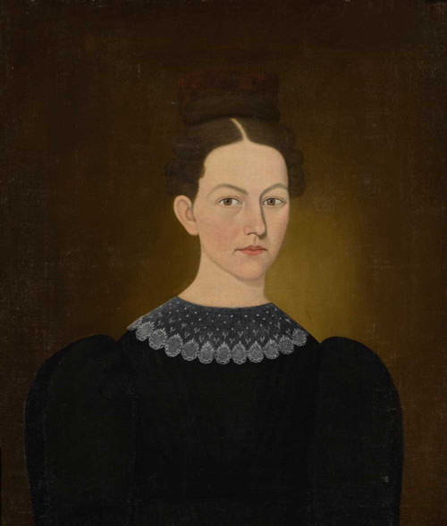 Art prints of Portrait of a Dark Haired Lady with Tortoiseshell Comb by John Brewster Jr.