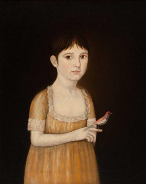 Art prints of Portrait of a Girl with a Bird, Mary Ann Patten Monson by John Brewster Jr.