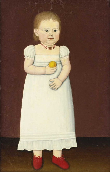 Art prints of Portrait of a Young Child in Red Shoes Holding a Peach by John Brewster Jr.
