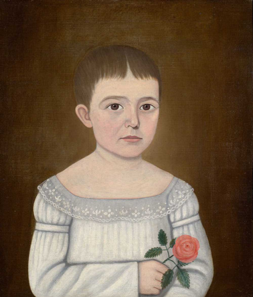 Art prints of Portrait of a Young Girl in White Holding a Pink Rose by John Brewster Jr.