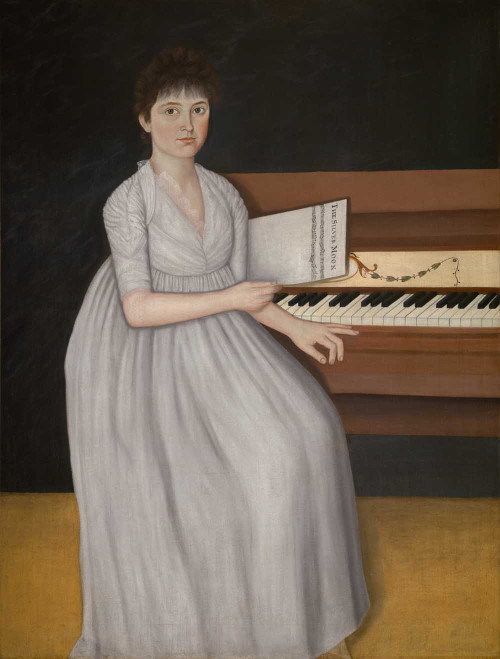 Art prints of Portrait of Sarah Prince, also known as Silver Moon or Girl at the Pianoforte by John Brewster Jr.
