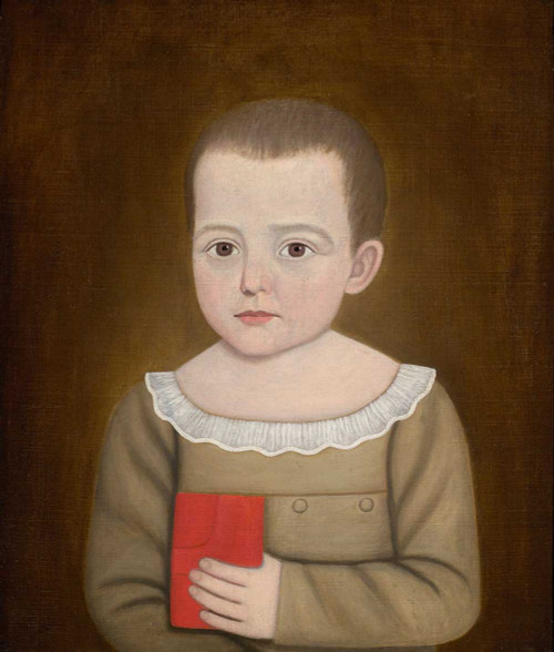 Art prints of Portrait of a Young Boy Holding a Red Book by John Brewster Jr.